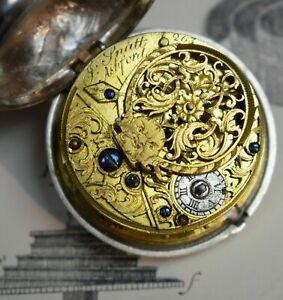 Englische Paircase Spindeltaschenuhr J. Spatt Ashford London aus Silber um 1778