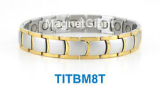 Silver & Gold - High power mens magnetic Titanium bracelet (5000 gauss magnets)