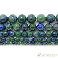 "Natural Azurite In Lapis Lazuli Gemstone Round Beads 4mm 6mm 8mm 10mm 12mm 16"""