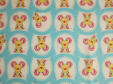 Mice Three Blind Blue Background Cotton Fabric FQ