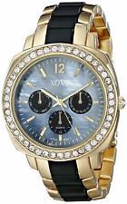 XOXO Women's XO5294 Gold and Black Clear Rhinestones Bezel Bracelet Watch