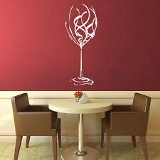 EXTRA LARGE WINE GLASS WALL ART FANCY MURAL STICKER SWIRL LADIES KITCHEN VINO