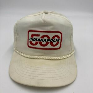 Vintage Indianapolis 500 Rope Hat Cap White Snap Back
