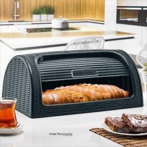 New Bread Bin Box Retro Plastic Kitchen Food Loaf Storage Free Rust Dunya Black