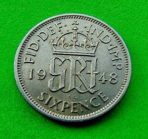 MINT  LUSTRED  BU  GEM   *1948*  SIXPENCE  6d...LUCIDO_8  COINS