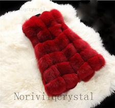 New Women Lady Warm Outwear Sleeveless Vest Fox Fur Winter Waistcoat Jacket Coat