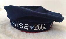 2002 US Olympic Team Roots Navy Blue Beret Hat EUC Salt Lake City Vintage Flag