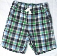 NEW Gymboree Boys Shorts Plaid Cotton 18 24 Mos Blue Green Pull On Elastic Waist