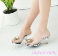 Women Clear High Wedge Heel Open Toe Dress Sandals Slipper Party Shoes Plus Size