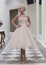Vintage Long Sleeve Lace Tea Length Wedding Dress Short Tulle Bridal Gown