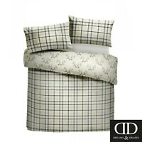 Dreams & Drapes Stag Single Bedding Set Check Tartan Duvet Quilt Cover Cotton