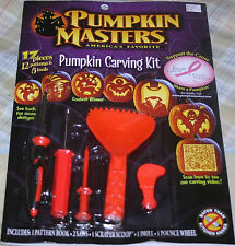 PUMPKIN MASTERS CARVING KIT-17 pc Set Patterns,Tools,Saw,Scoop,Drill,Pounce NEW