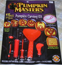 2 PUMPKIN MASTERS CARVING KITS Set Patterns, Tools, Saw, Scoop,Drill,Pounce NEW