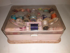 Vintage 1950s Hommer Kittens Cats Sewing Jewelry Box Pink Plastic Nice Condition