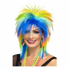 Adult Ladies 1980s Raver Diva Neon Multi Coloured Punk Wig Costume Accessory