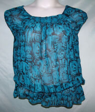a.n.a Blue Black Geometric Semi-Sheer Sleeveless Chiffon Polyester Blouse Sz L