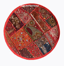 "Indian Cotton Decorative Round Zari Work 16X16"" Sofa Cushion Pillow Cover New"