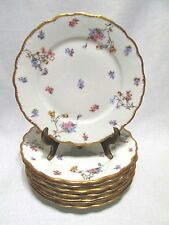 A Lanternier Violets Limoges France 8 Side or Salad Plates Gold Trim