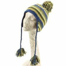 Hat Wool Earflap Stripe Striped Ear Flap Fleece Winter Beanie Knit Blue Green