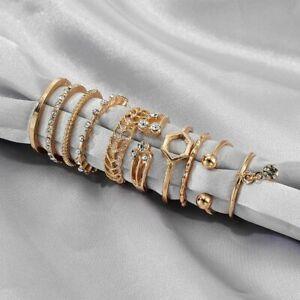 8pcs Geometric Crystal Drop Knuckle Midi Finger Tip Rings Set Women Jewelry New