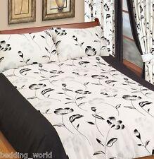 Single Bed Duvet Cover Set Kara Black Silver Floral Suede Effect off Cream