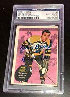 JOHN BUCYK SIGNED 1961 TOPPS CARD #8 PSA/DNA Auto BOSTON BRUINS