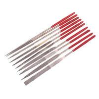 10pcs Red Diamond Needle File Set Sharpening Half-round Plastic Handle 3X140mm
