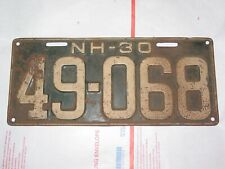 New Hampshire 1930 License Plate Rat Rod Single Sold As Is