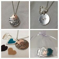 Essential Oil Diffuser Necklace Aromatherapy silver Mom Mothers Day BE HAPPY ME