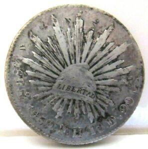 1859 - 8 REALES - CAP & RAY - MEXICO SILVER DOLLAR - 90.3% SILVER - F - VF