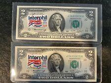 1976 $2 Note KANSAS CITY LOT of 2 Notes Cool Ink Stamp Crisp CU