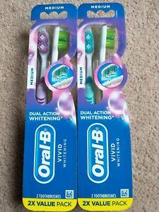 (4) Oral B VIVID WHITENING Toothbrushes MEDIUM DUAL ACTION WHITENING