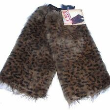 Soft Women Fluffy Fuzzy Faux Fur Leg Warmers Muffs Boot Covers -Leopard Brown