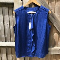 Laura Ashley Indigo Blue Silky Feel Sleeveless Ruffle Blouse Size 14 BNWT