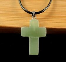 Natural Green Aventurine Gemstone Cross Pendant on a Black Cord Necklace #1188