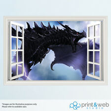Skyrim dragon Gamer 3D ventana de vista Calcomanía Pared Adhesivo Decoración Hogar Arte de Mural