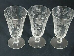 FOSTORIA etched HEATHER FOOTED JUICE TUMBLER  glass set of 3