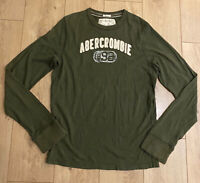 Abercrombie & Fitch Men's Crew Neck Green Large 100% Cotton Distressed