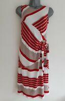SANDRO FERRONE Rome Women's Red Mix Striped Sleeveless Jersey Dress. Size UK 8.