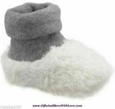 Baby Gap NWT Unisex Ivory Frost SHERPA ROLL CUFF SLIPPERS BOOTIES SHOES 6 9 12 M