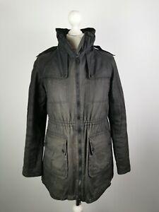 L629 Barbour Ladies Black Streak Black Long Wax Parka Jacket, UK 10