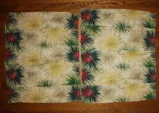 Vtg MCM Modernist Barkcloth Fabric Atomic Xmas Starbursts 2 Pcs