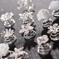 New 2PC Bridal Crystal Pearl Flower Spiral Twist Hair Pins Clips Wedding Jewelry