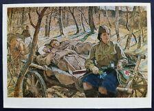 WWII WW2 NURSE Gun PPSH Military girl woman RED CROSS Soviet Army HORSE postcard
