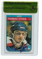 JETS THOMAS STEEN signed autographed 1982-83 OPC ROOKIE CARD RC BECKETT (BAS)