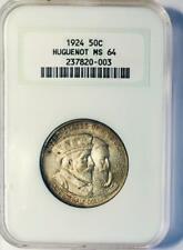1924 Huguenot Commemorative Silver Half Dollar - NGC MS 64 - Darkly Toned