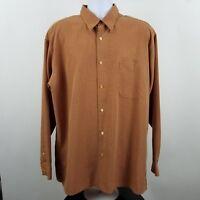 Bugatchi Uomo Men's L/S Casual Button Shirt Orange Check Sz XL
