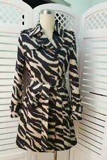 Canadian DesignerClassic Trench Coat Leopard Animal Print SizeM AU8 Black Khaki