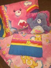 VTG Care Bears Bedding Set Pillowcase Flat & Fitted Sheet Throw Pillow Rainbow