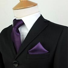 Kid Children Boys Premium Satin Tie Hanky Handkerchief Pocket Square Gift Set UK